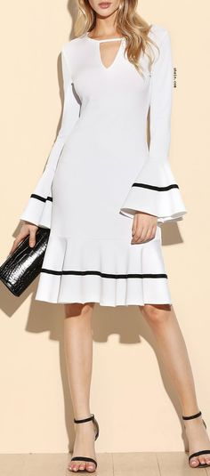 White Keyhole Front Striped Ruffle Sleeve And Hem Dress