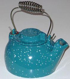 SPECKLED BLUE ENAMEL CAST IRON TEAPOT VINTAGE JOHN WRIGHT TEA KETTLE on eBay!