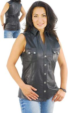 d7fbdc2425e5e Womens sleeveless leather shirt   vest with two front snap button pockets