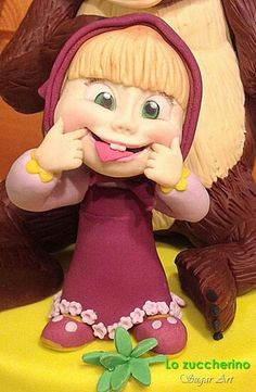 Masha Masha And The Bear, Cake Topper Tutorial, Fondant Toppers, Polymer Clay Dolls, Bear Cakes, Girl Cakes, Sugar Art, Biscuit, Cold Porcelain