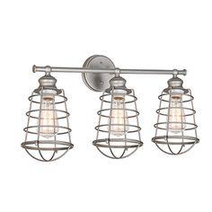 cool Design House 519728 Ajax 3 Light Vanity Light, Galvanized Steel Finish