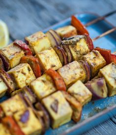 As a vegetarian barbecue option, these paneer and red pepper skewers are truly wonderful - by Alfred Prasad