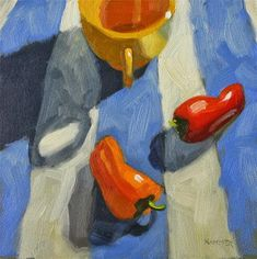"""""""What are you doing here? 6x6  oil"""" - Original Fine Art for Sale - © Claudia Hammer"""