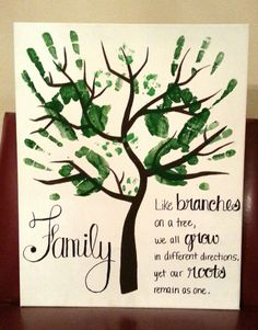 "Handprint art for grownups...husband, wife, and puppy prints. ""Family... like branches on a tree, we all grow in different directions, yet our roots remain as one""."