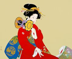 上村松園 鼓の音 1940年 by Uemura Shoen (1875-1949 ), Japanese painter Geisha Kunst, Geisha Art, Japanese Modern, Japanese Prints, Woman Painting, Figure Painting, Asian Artwork, Japanese Painting, Japan Art