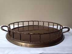 Brass tray vintage faux bamboo decorative made in by SpaceModyssey