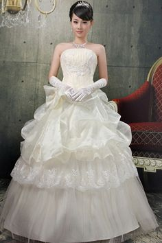 Strapless Elegant Ivory Wedding Dress - Order Link: http://www.theweddingdresses.com/strapless-elegant-ivory-wedding-dress-twdn0377.html - Embellishments: Applique , Bowknot , Ruched; Length: Floor Length; Fabric: Organza; Waist: Natural - Price: 147.15USD
