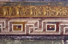 Pompeii (Campania, Italy), Villa dei Misteri-Villa of Mystery.-Ornamental borders in the Hall of Mystery