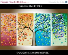 This button tree wall art is made from four canvases, paint and colorful buttons. Get step by step instructions so you can make button tree wall art too! - by Amanda Formaro, Crafts by Amanda Canvas Art Projects, Art Projects For Teens, Diy Canvas Art, Craft Projects, Craft Ideas, Button Art Projects, Art Ideas For Teens, Arts And Crafts For Teens, Tree Wall Art