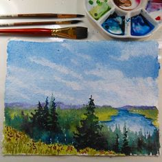 Hi friends! Today we are going back to basics with a fun and relaxing watercolor landscape of a forest, lake and meadow. I received such lovely feedback from viewers on YouTube and Instagram that I… #watercolorarts
