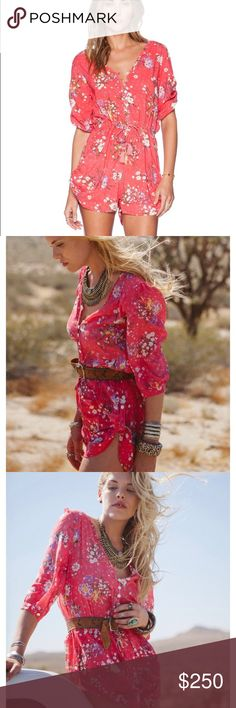 """Spell Sundance romper playsuit in Rose - small Size small Spell Sundance romper in rose color. Like new condition. Rare. Smoke free, pet free home. 32"""" long. 18"""" lying flat armpit to armpit, 16"""" sleeves, 3"""" inseam. 100% rayon. Sorry, no trades. Spell & The Gypsy Collective Shorts"""