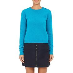 Acne Studios Women's Siw Wool Crewneck Sweater ($280) ❤ liked on Polyvore featuring tops, sweaters, turquoise, woolen sweater, crew top, blue top, blue crew neck sweater and crewneck sweater