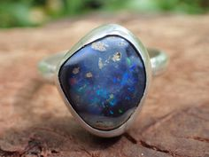 Lightning Ridge Opal and Silver Ring ~ Check out this item in my Etsy shop https://www.etsy.com/au/listing/525273083/lightning-ridge-boulder-opal-and