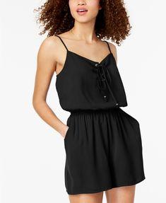 33067108ccf One Clothing Juniors  Lace-Up Romper Juniors - Dresses - Macy s