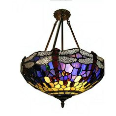 <li>Tiffany style lamp features colorful hand-blown art glass to brighten any home decor <li>Lighting fixture displays primary color of blue <li>Hanging lamp will dress up any room in your home or office