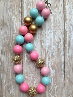 Pink mint and gold chunky necklace.. Chunky bead by GirlzNGlitter