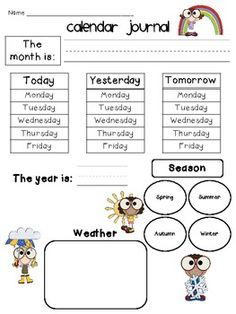 Kindergarten Calendar Journal For All Seasons