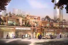 Aldar Central Market souk Abu Dhabi By Foster & Partners – render 11 Architecture Company, Commercial Architecture, Islamic Architecture, Architecture Student, Commercial Interior Design, Abu Dhabi, Mall Facade, Commercial Landscaping, Foster Partners