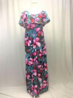 Hilo Hattie 18 Floral Plumeria Muu Muu Maxi Dress Vintage 40 in bust Retro Dress, Dress Vintage, Muumuu, Cute Clothes For Women, House Dress, Cute Outfits, Wonderful Things, Shoulder, Floral