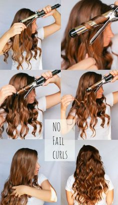 No fail curls- spray lightly with hairspray, twist around unclamped curling iron except inches of the ends of hair, hold 20 sec, finger comb for looser curls, spray lightly with hairspray again gorgeous hair Hair Curling Tutorial, Loose Curls Tutorial, Perfect Curls Tutorial, Beach Waves Tutorial, Updo Tutorial, Easy Curls, How To Curl Your Hair, How To Curl Hair With Curling Iron, Curling Iron Tips