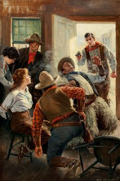 "Anton Otto Fischer - ""Saloon Shoot Out"" 1919 Pulp Fiction Art, Pulp Art, Westerns, Cowboy Art, Western Cowboy, Western Saloon, Into The West, Le Far West, Native American Art"