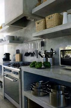 Beautiful cement kitchen!!!❤