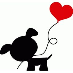 Silhouette Design Store: dog with heart balloon silhouette