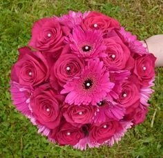 pink cerise rose bridal bouquet artificial - Google Search