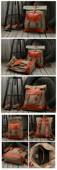 Handcrafted Waxed Canvas Leather Travel Backpack School Backpack Hiking Rucksack NZ11