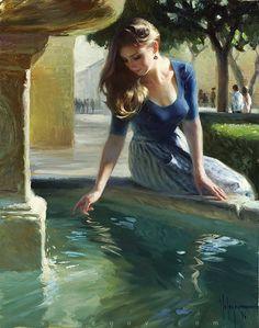 At the city fountain by Vladimir Volegov #painter #painting #art