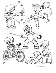 Deportes. Fichas para imprimir y colorear Coloring Books, Coloring Pages, Sports Clips, Health Fair, Sports Logo, Drawing For Kids, Happy Kids, Olympic Games, Physical Education