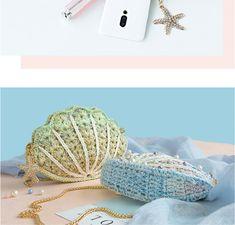 Shereo's crochet pattern of romantic pearl shell shoulder bag – Herzlich willkommen Basic Crochet Stitches, Crochet Motif, Crochet Flowers, Hand Crochet, Crochet Patterns, Crochet Round, Leather Bags Handmade, Crochet Purses, Crochet For Beginners