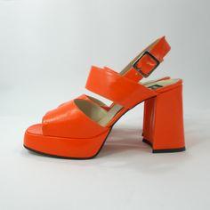Platform shoes, vintage orange Groovy shoes, 90s retro 70s open toes sandals, Italian disco peeptoe shoes, block heel slingback shoes by etsyYNB on Etsy