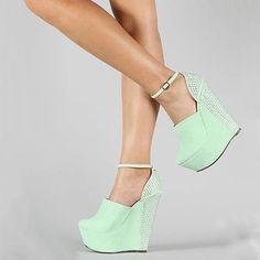 Sexy Mint Maui High Heel Wedges