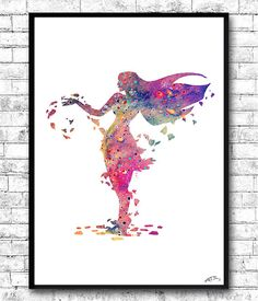 Pocahontas Watercolor Print Disney Poster Watercolor by ArtsPrint
