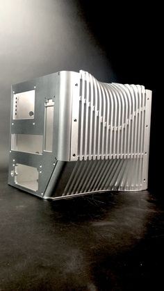 machined aluminum micro ITX gaming PC case made by Mnpctech. Truly unique PC chassis that fits full size performance graphics cards. Gaming Pc Build, Gaming Pcs, Computer Case, Gaming Computer, Pc Installation, Computer Parts And Components, Cheap Gaming Laptop, Purple Wallpaper, Cool Wallpaper