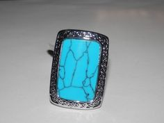 Turquoise Ring ~ 18K White Gold Plated ~ SZ. 6 #AimeesTreasures #Solitaire