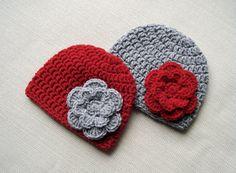 Crochet baby hat Girls Newborn hats Twin baby girls by JURGOSS