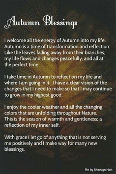 Autumn blessings: a prayer for Mabon (the Autumnal Equinox) Mabon, Samhain, Autumnal Equinox, The Embrace, Sabbats, Book Of Shadows, Witchcraft, Magick Spells, Autumn Leaves