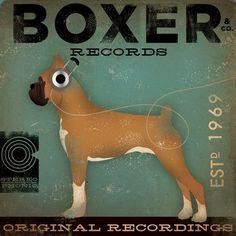 BOXER records original graphic illustration on canvas 12x12 by Gemini Studio Art