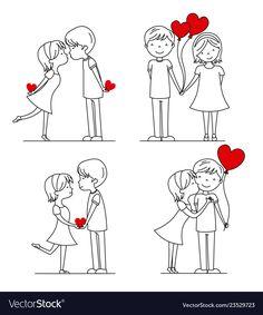 Cute Couple Drawings, Love Drawings, Doodle Drawings, Easy Drawings, Doodle Art, Valentines Day Drawing, Valentines Day Couple, Stick Figure Drawing, Emoji Love