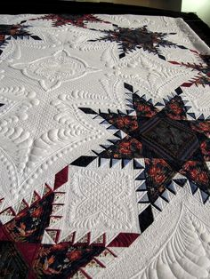 Close-up, A Truly Feathered Star by Karen Sievert, photo by Quilt Inspiration.