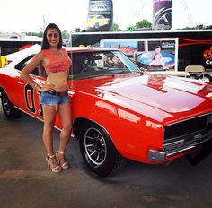 Miss Mopar participating in the Daisy Duke contest at the Chrysler Nats 2014.