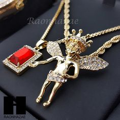 MEN ICED OUT WATCH & RUBY, CROWN ANGEL PENDANT ROPE BOX CHAIN GIFT SET SS78