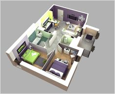 10 Awesome Two Bedroom Apartment 3D Floor Plans Part 61