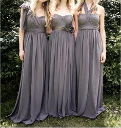Grey Bridesmaid Dress Long Convertible Chiffon by harsuccthing, $109.00