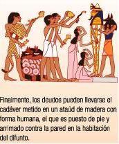 Pasos de una momificación:  7- Una vez acabada la momificación los familiares pueden llevarse el cadáver metido en un atáud de madera con forma humana, que será puesto de pie y arrimado a una pared.