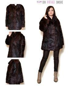 Fur Coat 80s Brown Fur Coat Fur Jacket Short Fur Coat Dark Brown Sexy Vintage Coat Classic Fur Jacket Vintage Clothing Size M/38 by SixVintageChicks on Etsy