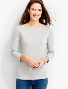 Three-Quarter-Sleeve Bateau Neck-Ash Heather-The Talbots Tee