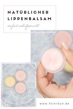 Einfache und schnelle Lippenpflege im Handumdrehen selber gemacht. vollkommen natürliches DIY für einen Lippenbalsam. Das perfekte Geschenk für jedermann. Natürlich, nachhaltig und vegan. | #feierSun #diy #geschenk Diy Beauty, Beauty Hacks, Beauty Tips, Lip Scrubs, Diy Spa, Lip Balm, Homemade, Vegan, Decor